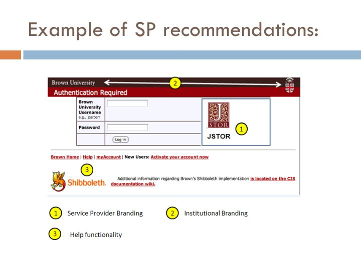 Example of SP recommendations: