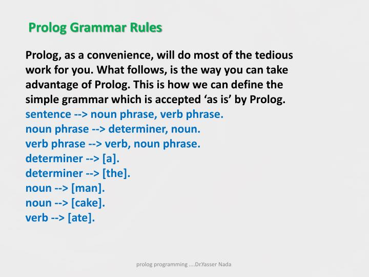 Prolog Grammar Rules