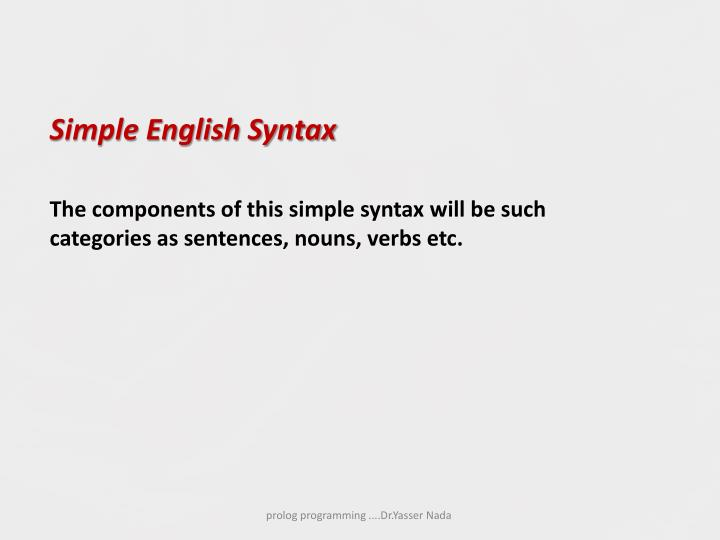 Simple English Syntax