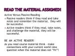 read the material assigned