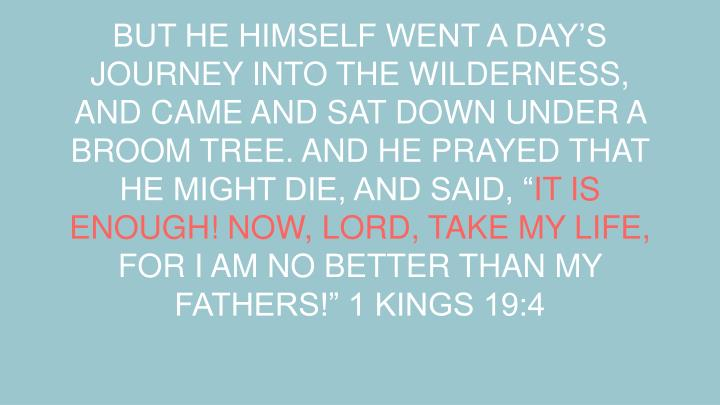 BUT HE HIMSELF WENT A DAY'S JOURNEY INTO THE WILDERNESS, AND CAME AND SAT DOWN UNDER A BROOM TREE. AND HE PRAYED THAT HE MIGHT DIE, AND SAID, ""