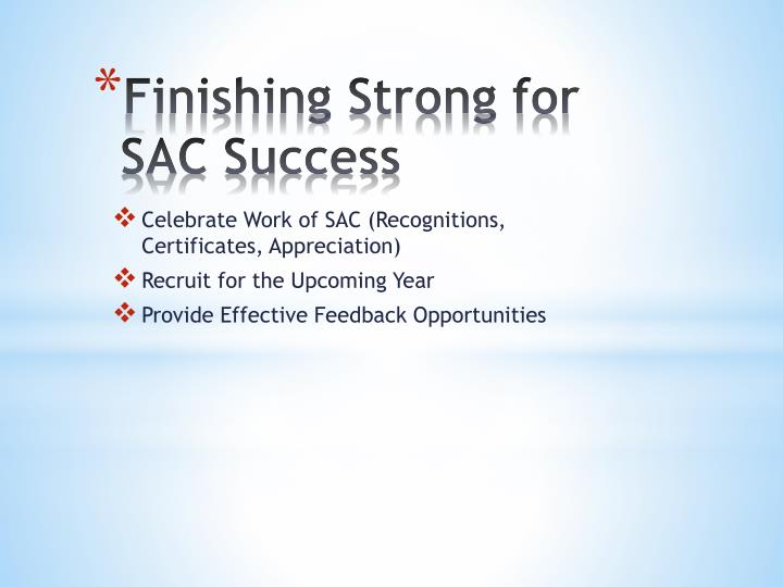 Finishing Strong for SAC Success