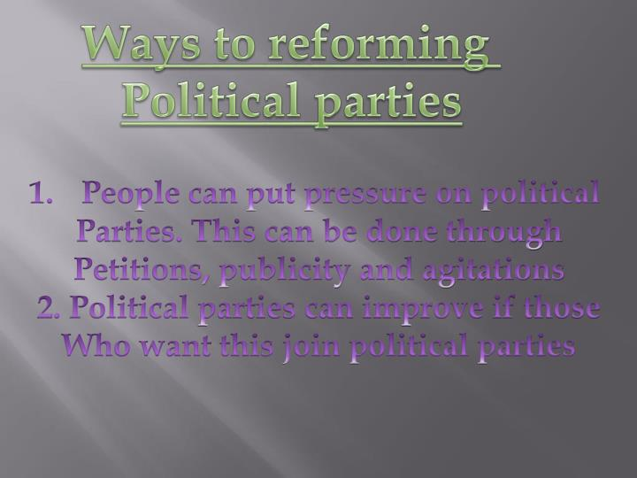 Ways to reforming