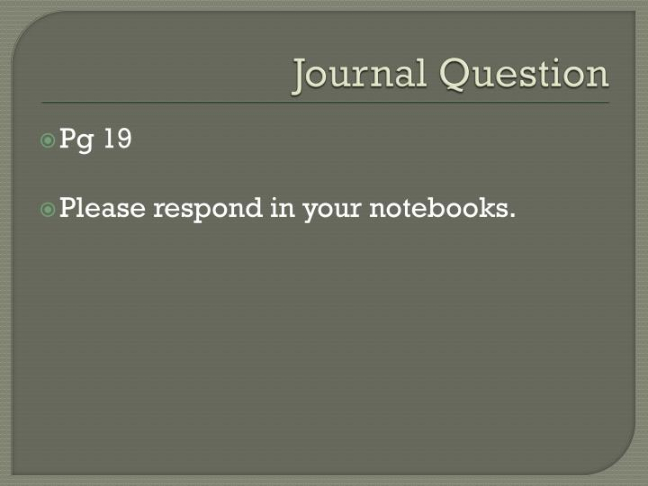 Journal Question