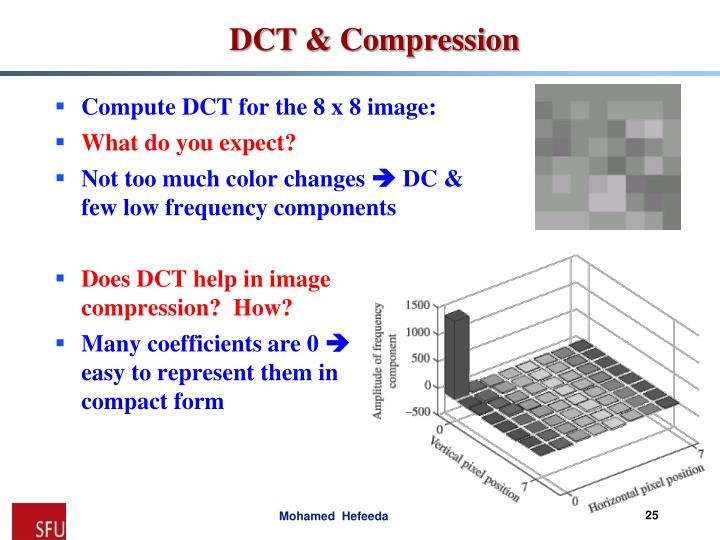 Compute DCT for the 8 x 8 image: