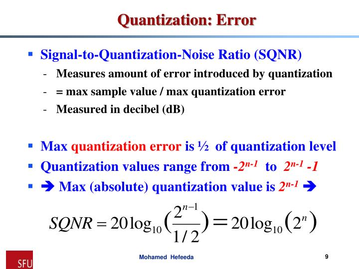Signal-to-Quantization-Noise Ratio (SQNR)