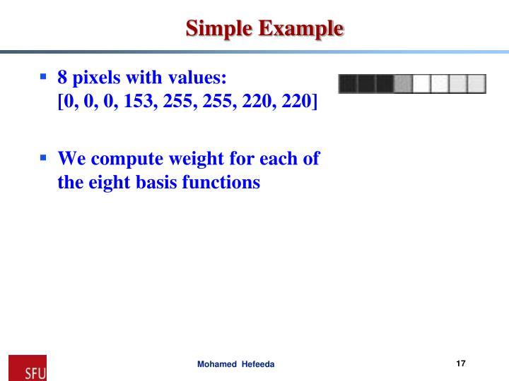 8 pixels with values: