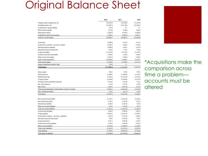 Original Balance Sheet