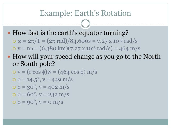 Example: Earth's Rotation