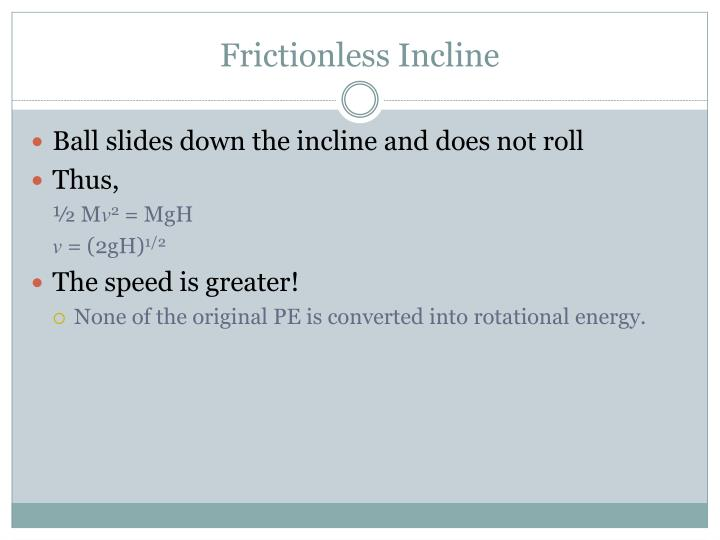Frictionless Incline