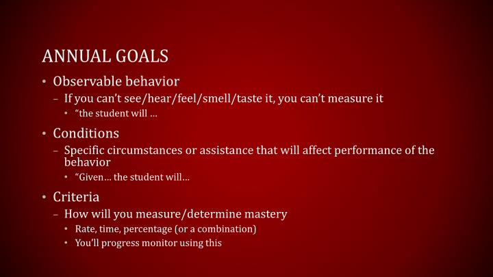 Annual Goals