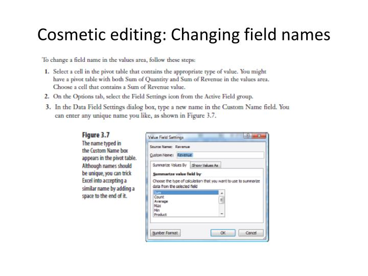 Cosmetic editing: Changing field names