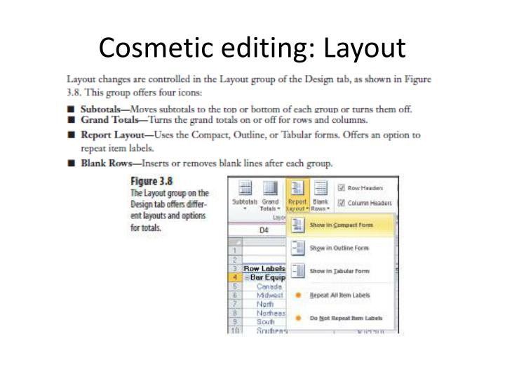 Cosmetic editing: Layout