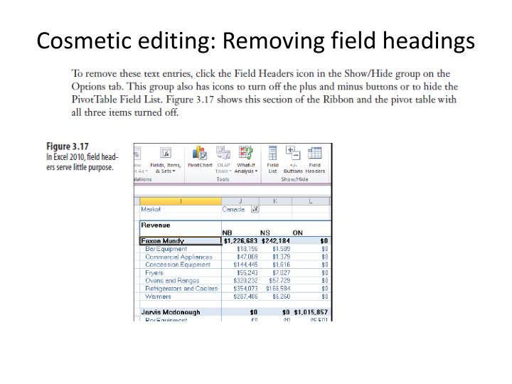 Cosmetic editing: Removing field headings