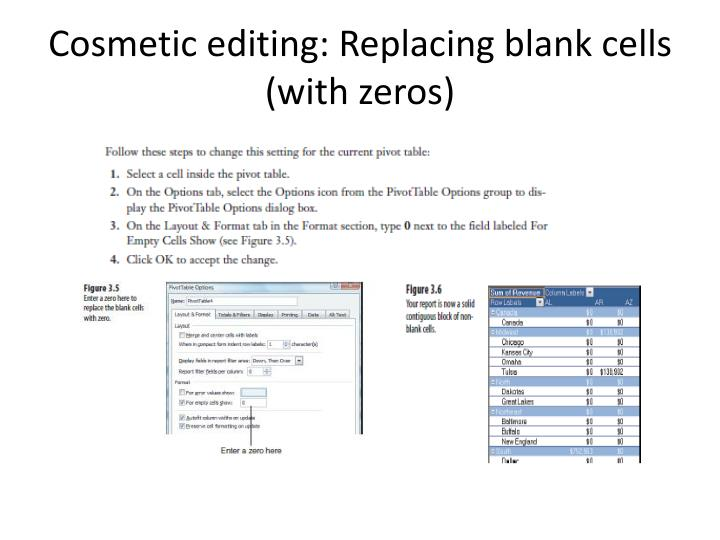 Cosmetic editing: Replacing blank cells (with zeros)