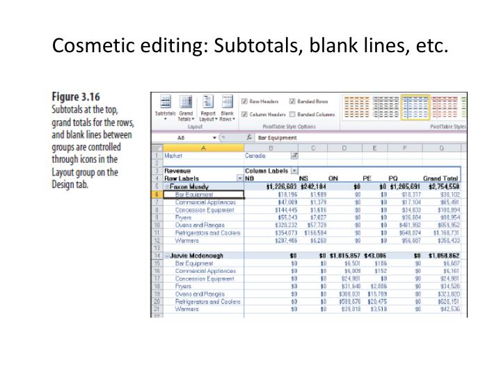 Cosmetic editing: Subtotals, blank lines, etc.