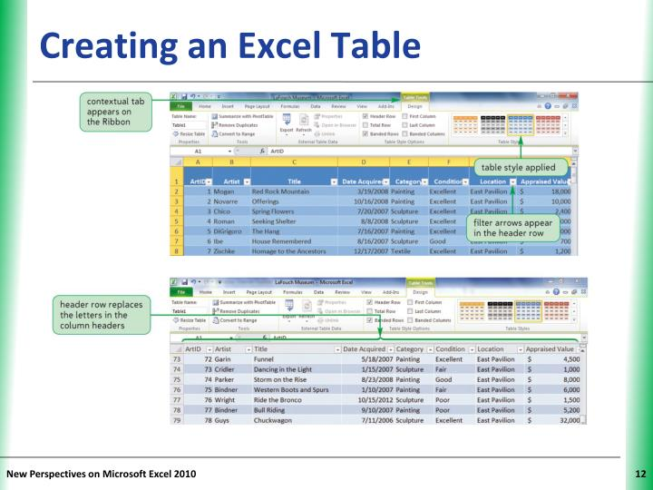 Creating an Excel Table