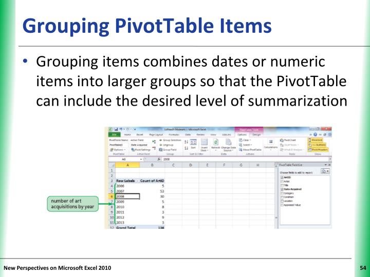 Grouping PivotTable Items