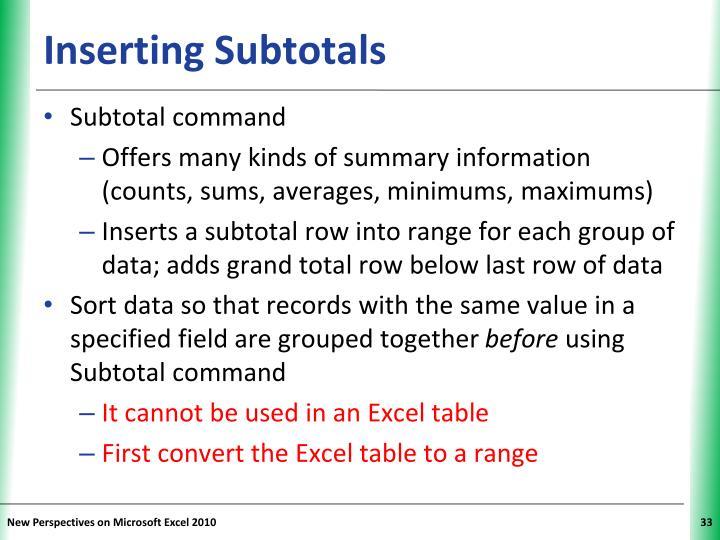 Inserting Subtotals