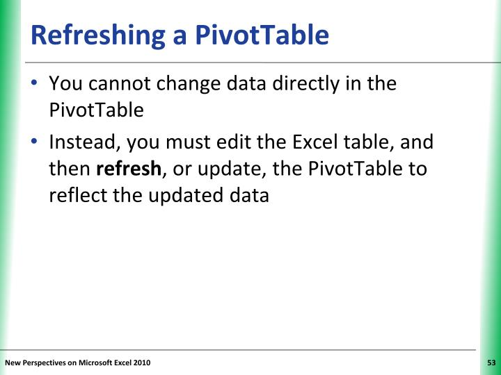 Refreshing a PivotTable