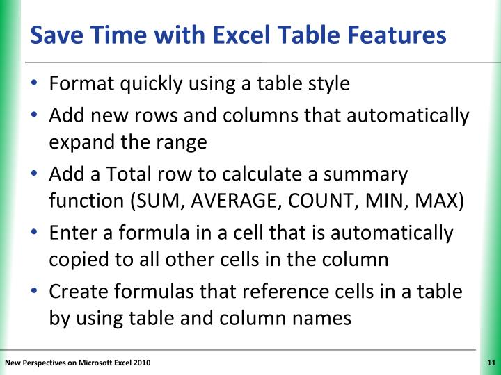 Save Time with Excel Table Features