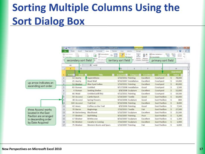 Sorting Multiple Columns Using the Sort Dialog Box