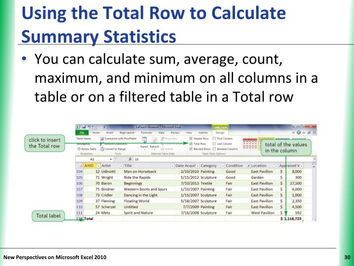 Using the Total Row to Calculate