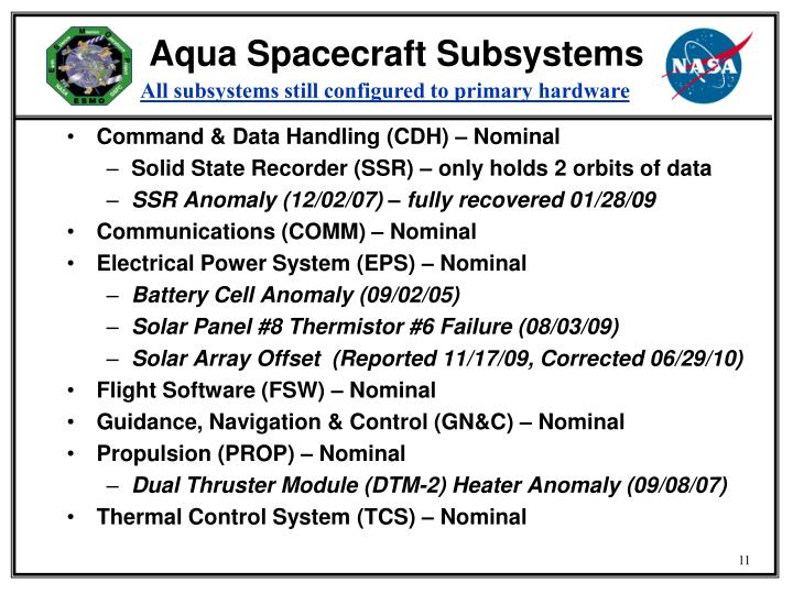 Aqua Spacecraft Subsystems