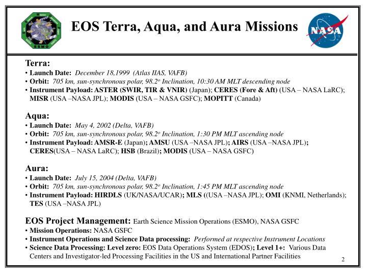 EOS Terra, Aqua, and Aura Missions
