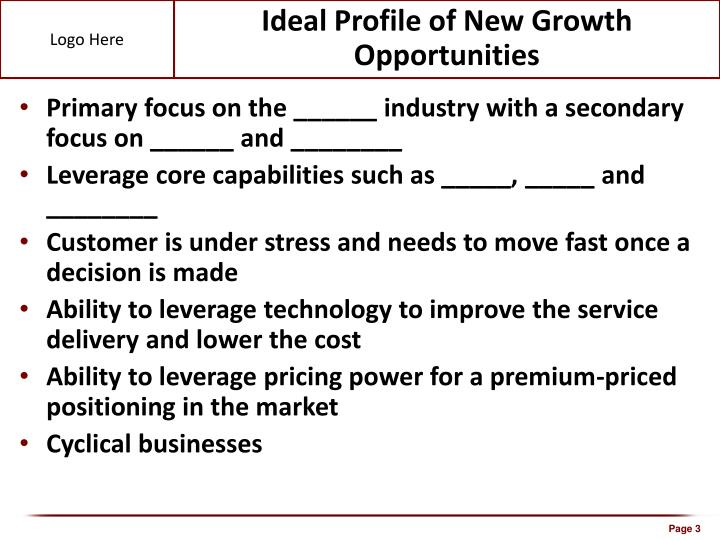 Ideal Profile of New Growth Opportunities