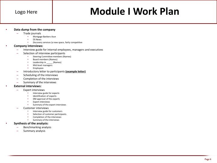 Module I Work Plan
