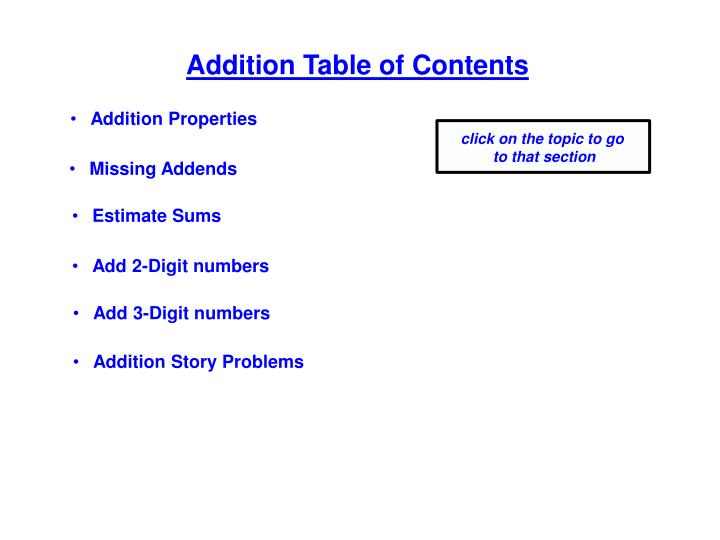 Addition Table of Contents