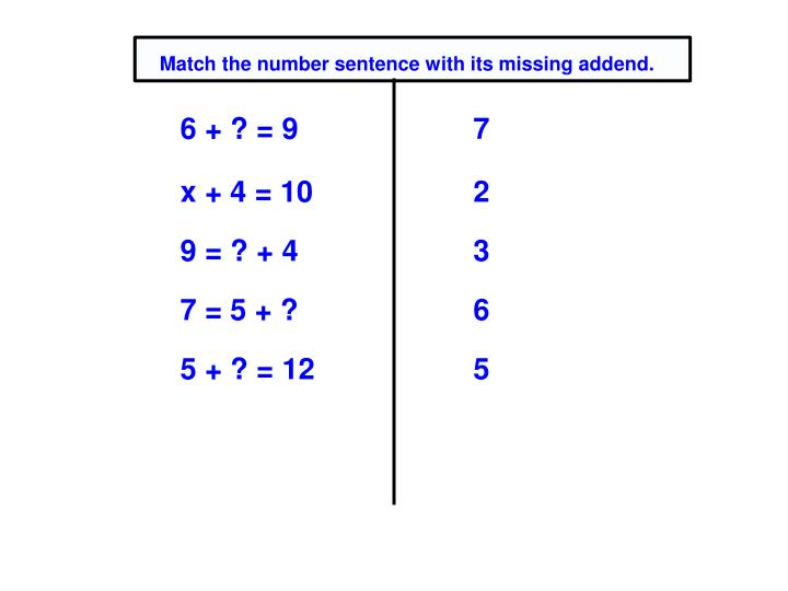 Match the number sentence with its missing addend.