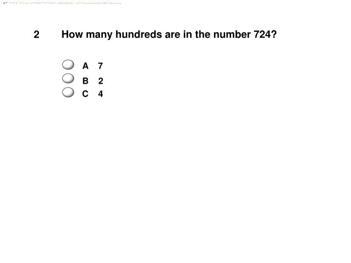 How many hundreds are in the number 724?