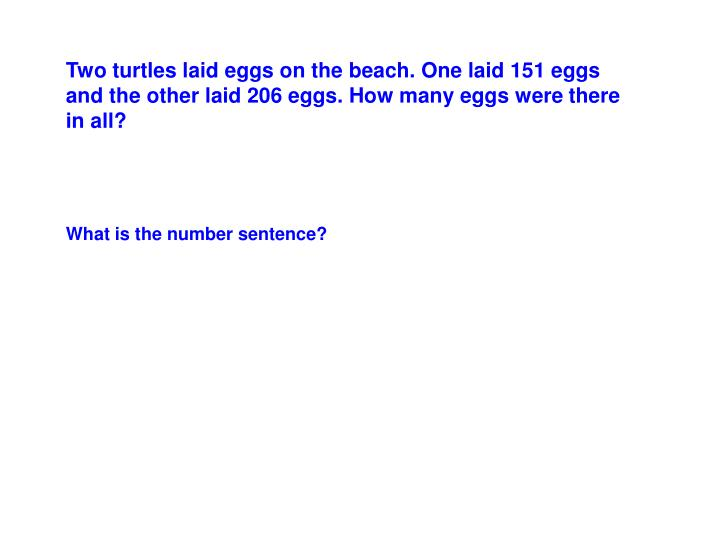 Two turtles laid eggs on the beach. One laid 151 eggs and the other laid 206 eggs. How many eggs were there in all?
