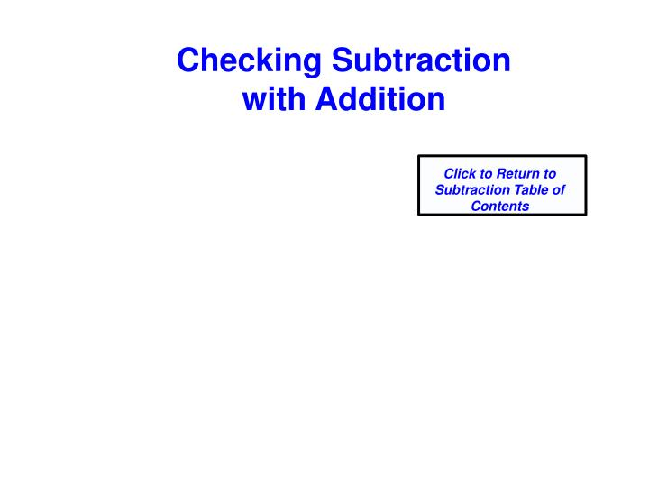 Checking Subtraction