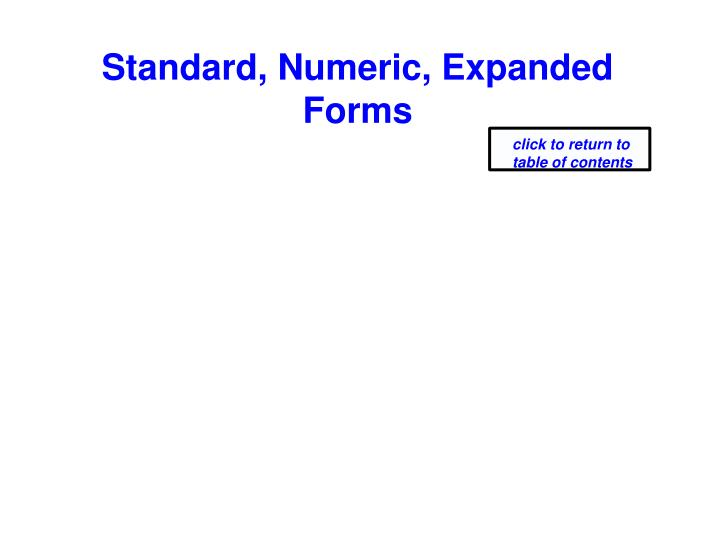 Standard, Numeric, Expanded Forms