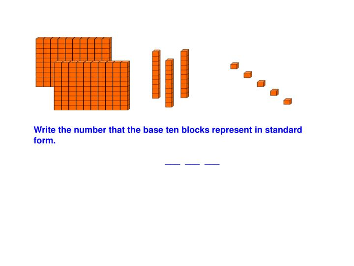 Write the number that the base ten blocks represent in standard form.