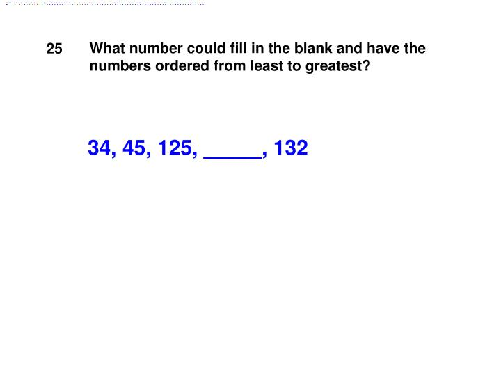 What number could fill in the blank and have the numbers ordered from least to greatest?