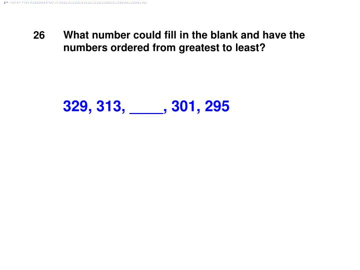 What number could fill in the blank and have the numbers ordered from greatest to least?