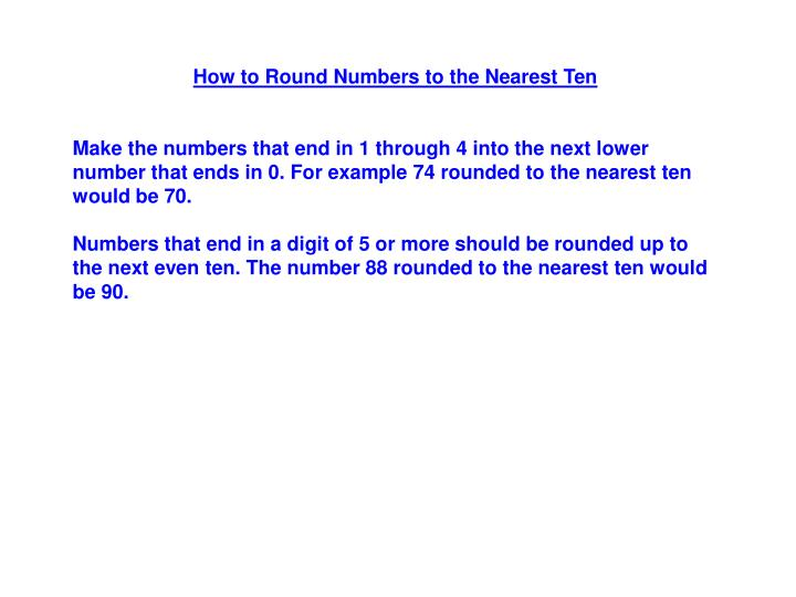 How to Round Numbers to the Nearest Ten
