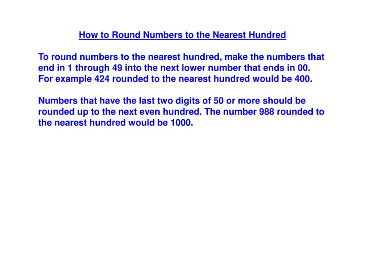 How to Round Numbers to the Nearest Hundred
