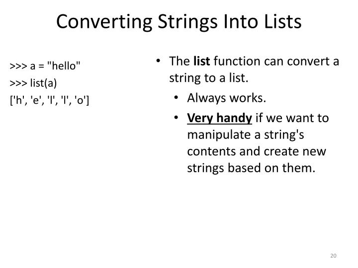 Converting Strings Into Lists