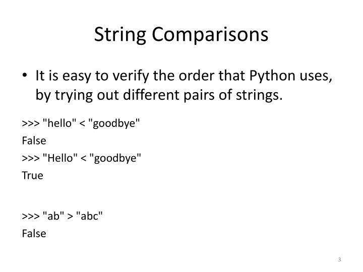 String Comparisons