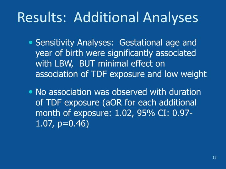 Results:  Additional Analyses