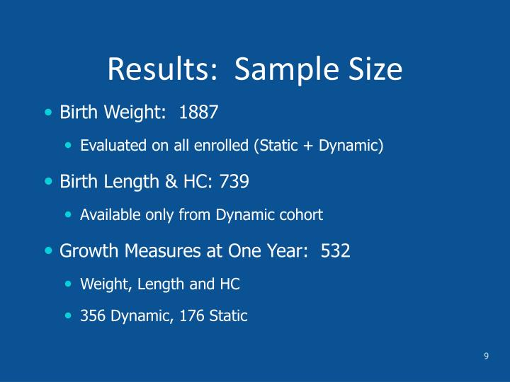 Results:  Sample Size