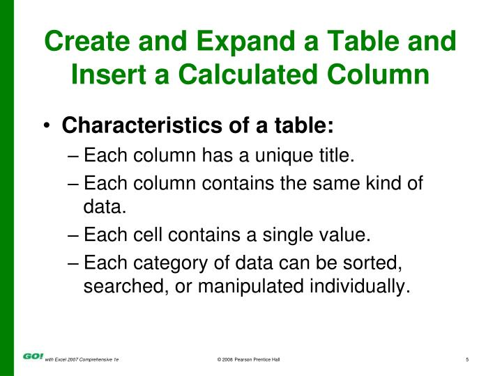 Create and Expand a Table and Insert a Calculated Column