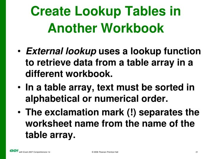 Create Lookup Tables in