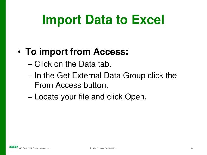 Import Data to Excel