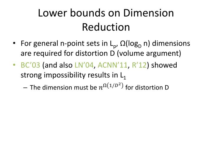 Lower bounds on Dimension Reduction